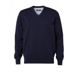 Clipper pullover m/V-hals i 100% bomuld, navy