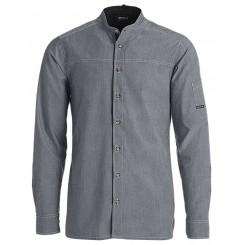 Kokke-/service skjorte, modern fit med langt ærme, grå