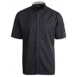 Kokke-/service skjorte, modern fit med kort ærme, sort