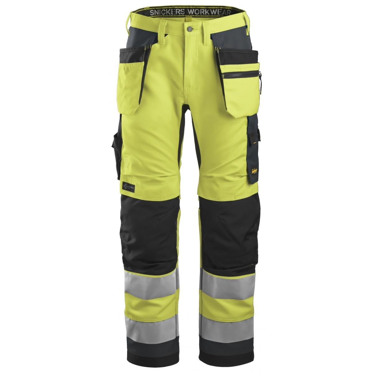 47812e55623 Snickers High-Vis arbejdsbukser m/hængelomme og refleks, gul/koks