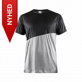 Craft T-shirt to-farvet i moderne design, lys grå/sort
