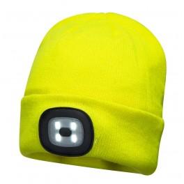 Beaine strikhue med genopladeligt LED lys, gul