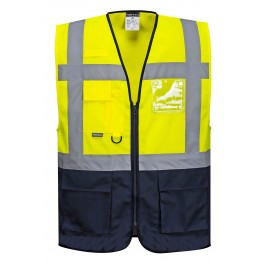 Smart to-farvet sikkerhedsvest med lynlås og lommer, gul/marine